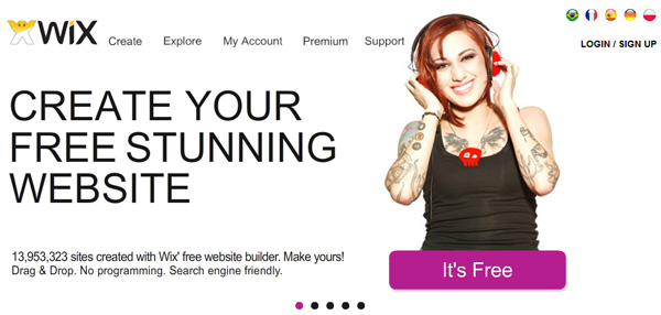 Wix free flash site builder