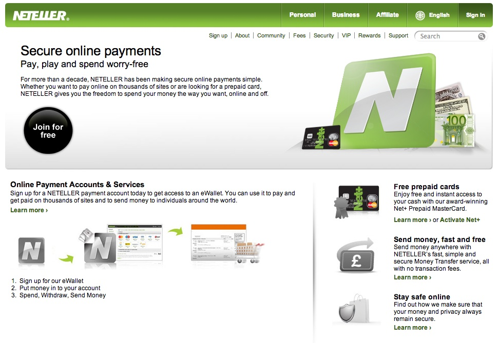 neteller accepted shopping sites